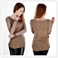 New 2014 Women's Korean Ladies Casual Long Sleeve Girl Sheer Gauze T-shirt Wholesale Free Shipping