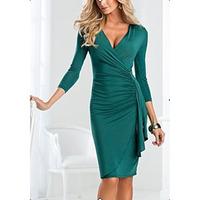 2014 New Fashion Women Elegant Dress Sexy V Neck 3/4 Sleeve Slim Pleated Dress Workwear Dresses S-XXL