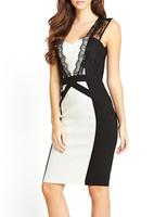 2014 Fashion Summer Women Party Dress Sexy Chic Lace Trim Patchwork Midi Dress Top Quality Free Shipping B4891 Eshow