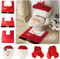 Hot!Christmas Santa Claus Bathroom toilet seats cover mat -Toilet cover +contour rug + tank cover, thermal potty 3 piece set