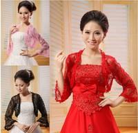 New Fashion Women Red Cape Accessories Thin Pashmina Multicolor Lace Small Bridal Jacket Feminino Black Wedding Bolero