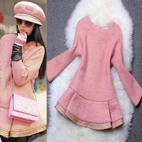 Fashion high quality 2014 women's three quarter sleeve o-neck patchwork pink brief pullover woolen outerwear