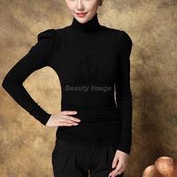 New Winter Turtleneck Long Sleeve Black Bottoming Shirt Women's Clothing  Roupas Blusas Femininas
