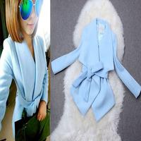 2014 fashion high quality autumn and winter women ladies gentlewomen large lapel irregular sweep short design woolen outerwear