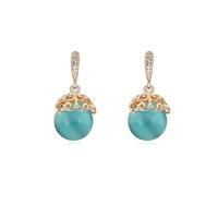 new brand design fashion woman selling 18K gold earrings opal earrings OL flower 95348