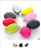 Grenade Shaped Style Keychain Hand Zippered Case Coin Pouch Bag Purse Wallet key wallet holder 100pcs fedex fast