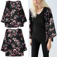 Trendy Summer Women Boho Colorful Flowers Print Black Kimono Cardigan Jacket  No Button Blouse Shirt Top New Arrivals