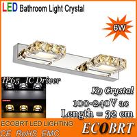 Modern 6W led wall light 32cm Square Crystal AC110V /220V Indoor bathroom Cabinet wall lamp decoration sconce lighting