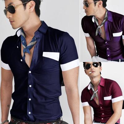 Free shipping hot sales 2014 fashion men's casual,new summer men's slim short-sleeve Tuxedo Shirts ,camisa masculina manga curta(China (Mainland))