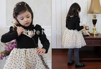 2014 hot selling Fall girl upset long-sleeved polka dot dress Free shipping