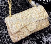 Luxury Cotton +sheepskin chain bag women genuine leather bag bolsas femininas designer handbags high quality messenger bags