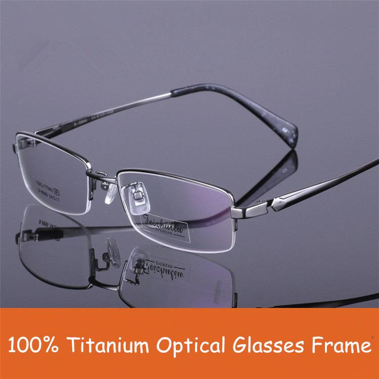 100% Titanium Eyewear Half Frame Optical Glasses Gentlemen Myopia Glasses Frame(China (Mainland))