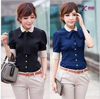Karir kemeja kirim dasi 2014 Promosi panas baru trendi pakaian wanita nyaman plus ukuran kasual shirt shirt Korean Slim