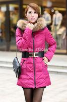 New Winter Women Duck Down Long Raccoon Fur Collar Hooded Coat Jacket Parka