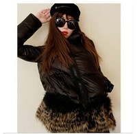 Fashion European brands fur down jacket hem stitching bread style women clothes big size winter coat