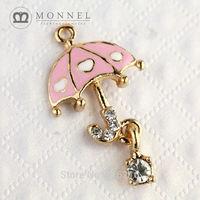 H289b Brand New 3pcs Cute Pink Umbrella Crystal Pendant Charm