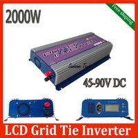 2000W grid tie inverter with LCD,power inverter,input voltage 45V-90V,output voltage 120/230V AC Free shipping
