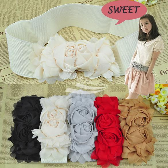 Elastic Belt Women Cute Waistband Waist Multicolor Fashion lady's Flower Double Rose Buckle Belt 5colors free shipping 3186(China (Mainland))