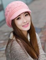 2014 New Women Hat Autumn Beanies Korean Fashion Kintted Warm Winter Hats For Women Caps Wool Hats Rabbit Fur Women Beanies Hat