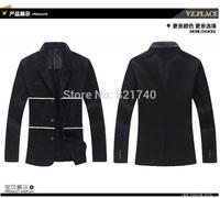 2015 new arrvial fashion Man full cotton long-sleeved suit plus size 3XL 4XL 5XL fashion  outwear suit men Leisure  blazer balck