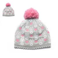 HOT! High Quality Baby Girls Cute Rabbit Heart Knitted Beanies Velvet Lining Skullies Kids Warm Ball Hats Y-1321