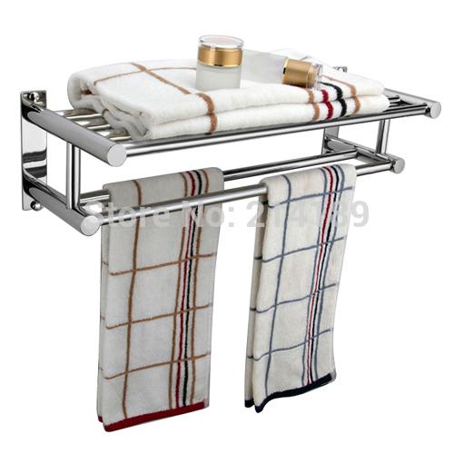Estantes De Acero Para Baño:De acero inoxidable de doble montado en la pared de toallas de baño