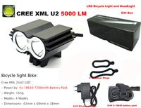 Bicycle light Bike Light 5000 Lumen Cree XML U2 LED Bicycle Light Bike Light Lamp + 7200mahBattery Pack + Charger + Gift box