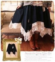 Cotton lace hem irregular sweep medium-long bust skirt japan style mori girl skirt free shipping