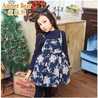 2014 New Arrival Children Fashional Dress~Sweet Floral Print and Thicken Fleece-Made Dress Warm and Beautiful Enough In Winter