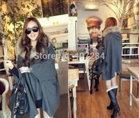 Winter  women's fashion wool collars irregular cloak women ponchos dark gray and light gray