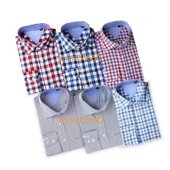 Free shipping 2014 New Model men's plaid slim cotton long sleeve casual shirt quality new fashion men's cotten big shirts