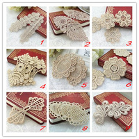 free shipping embroidery lace for clothing gold embroidery lace patch motif for headband and diy clothinging(MOQ:100/lot