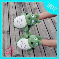 Cartoon totoro semi-finger gloves winter gloves female cartoon winter thickening thermal gloves