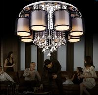 Modern luxurious sitting room study bedroom romantic  LED k9 crystal Ceiling Lights  6-8 head Fabric art crystal Ceiling Lights