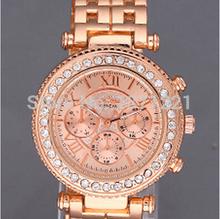 Moda de lujo a estrenar mujer relojes de ginebra cristal de cuarzo reloj del Rhinestone del oro reloj de pulsera reloj montre relogio feminino