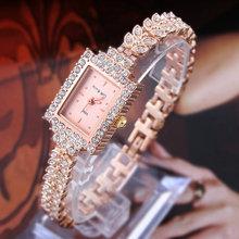 Rose Gold Bracelet Bangle Rhinestone Crystal Wrist Watches Ladies Watch Original rectangle Quartz Women Fashion Wristwatches