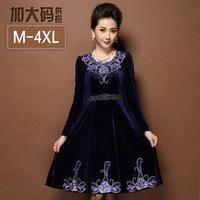 Plus sizeM-4XL Fashion Women dresses,Elegant Slim mother dress Beaded Velour dress Embroidery winter dress Free shipping S8110J