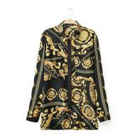 Ladies New Fashion Vintage Totem Print Long Blouse Shirt Spring Summer Women Long Sleeve Casual Loose Blouses Plus Size