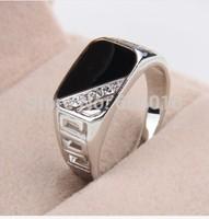 fashion one piece alloy rhoium plated mix size men's black enamel rhinestone ring free shipping xydr189-1