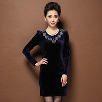 Plus sizes Fashion Women's Dress,Elegant velvet beaded dress,Slim package hip Velour dress winter dresses Free shipping S8229J