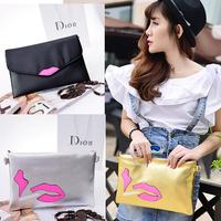 2014 New Fashion Red Lip Messenger Bags Women Star Style Gold Black Silver Sac a Main Envelop Purse Party Clutch Women Handbags