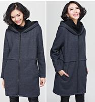 2014 Plus Size Women's Clothing New Korean Slim Long Sweater Coat Warm Zipper Wollen Hoody Blends Fat Lady Winter Coat