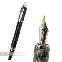 Crocodile 232 Vivid Black M Nib Fountain Pen 22KGP Diamond Star Top On Cap