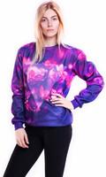 New 2015 Harajuku Hoodies Flower Floral Print Pullovers Ladies Sweatshirt Galaxy hoodies Sexy Sweater