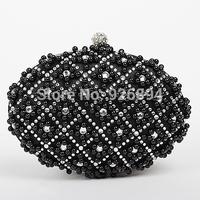 Elegant luxury charm pearl diamond circular satin PU wallet handbag clutch evening bag lady popular shoulder bag purse party