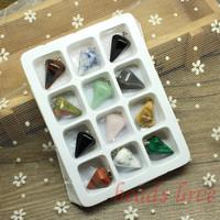 WHOLESALE 12pcs Mix Multi-style Pendulum Shape Natural Stone Charms Finding Pendants 16mm*24mm (W02745)
