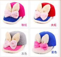MZ095 2014 new autumn winter new south Korean children's hat Rabbit hair warm hat baseball cap hat children's private label