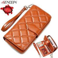 100% Oil Wax Cowhide Plaid Women's Purse Brand High Quality Real Leather Women Wallets Vintage Long Zipper Money Bag Card Holder