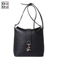 DUDU women's genuine leather handbag elegant fashion brief one shoulder cross-body messenger leather bag