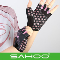 New Arrival 2014 SAHOO Riding Pink Women Sports Outdoor Mountain Bike Bicycle Gloves Half Finger Breathable Cycling Sports Glove